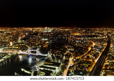 Cityscape of London at night - stock photo