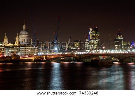 Cityscape of London with St. Paul cathedral, London, England - stock photo