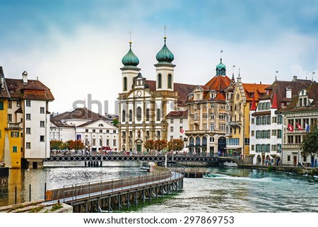Cityscape of Lucerne in the evening, Switzerland - stock photo