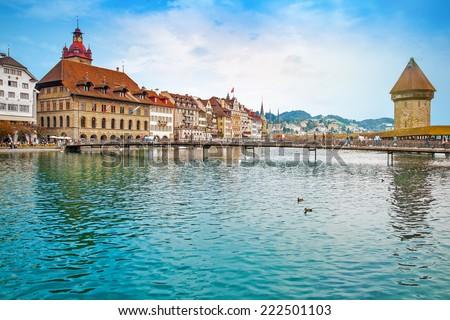 Cityscape of Lucerne, Switzerland - stock photo