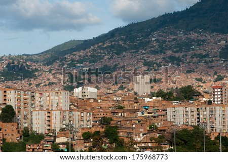 Cityscape of Medellin, the second-largest city in Colombia. - stock photo