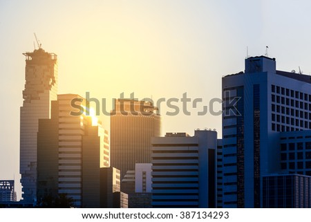 Cityscape of  modern building in Bangkok city, Thailand. - stock photo