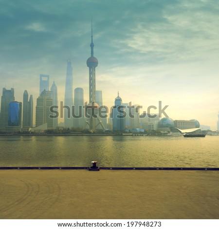 cityscape of modern city,Shanghai,China - stock photo