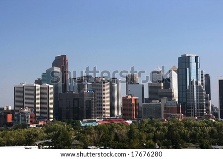 Cityscape of modern downtown. Skyline of Calgary, AB, Canada. - stock photo