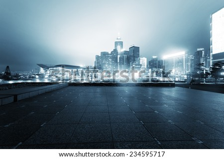 cityscape of modern urban city  during night. - stock photo
