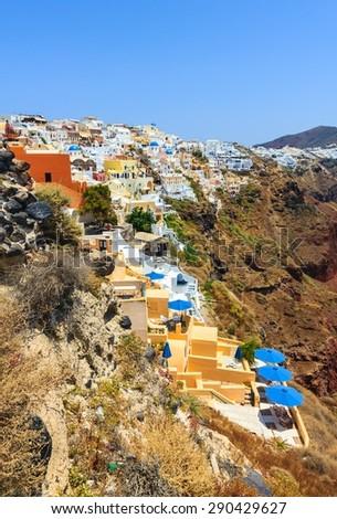 Cityscape of Oia on volcanic Santorini island in Greece. - stock photo