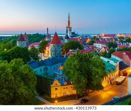 Cityscape of old town Tallinn at dusk, Estonia - stock photo