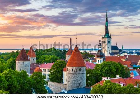 Cityscape of old town Tallinn at sundown, Estonia - stock photo