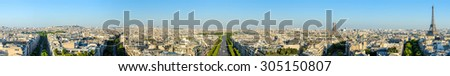 cityscape of paris by the sunset - stock photo