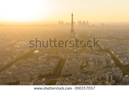 cityscape of paris in the dusk with eiffel tower - stock photo