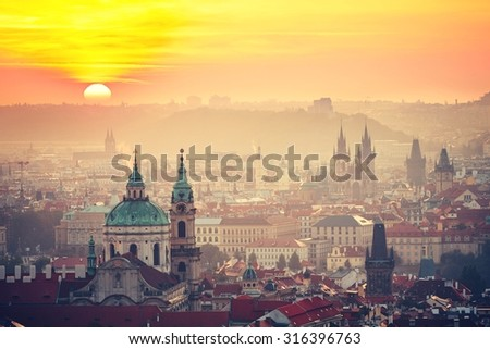 Cityscape of Prague at the sunrise - Czech Republic - stock photo