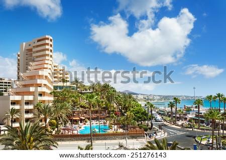 Cityscape of resort town Playa del Ingles. Maspalomas. Gran Canaria. - stock photo