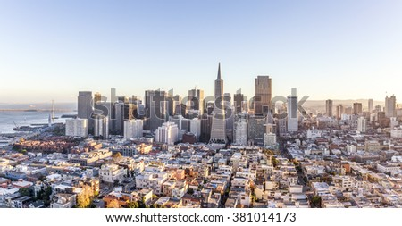 cityscape of San Francisco and skyline in sunny day - stock photo