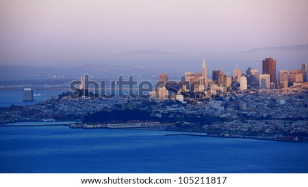 cityscape of San Francisco at evening - stock photo