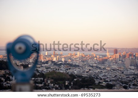 cityscape of san francisco with the city of oakland across the bay - stock photo