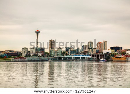 Cityscape of Seattle as seen from the bay - stock photo