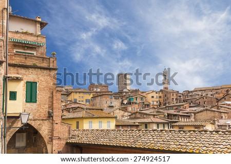Cityscape of Siena in Tuscany, Italy. - stock photo