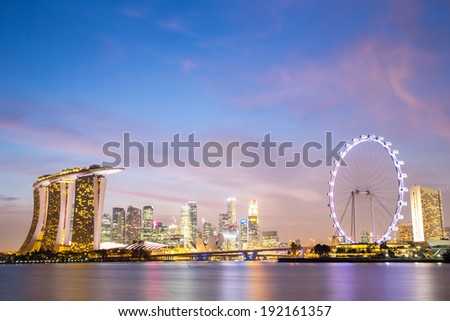 Cityscape of Singapore city downtown skyline skyscraper at dusk - stock photo