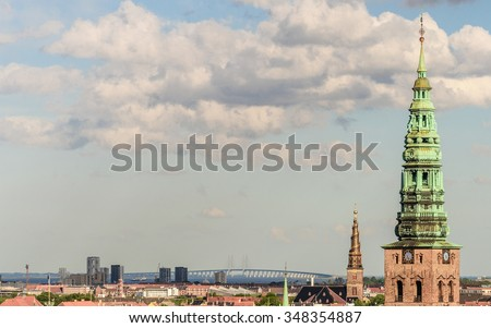 Cityscape of the old part of the city from the observation deck at the Round tower (Rundetaarn) in Copenhagen, Denmark - stock photo