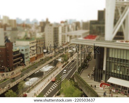 cityscape of Tokyo with shift lens effect, miniature photo style - stock photo