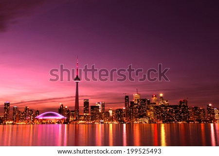 Cityscape of Toronto at night - stock photo