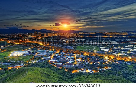 Cityscape of Yuen Long, Hong Kong. - stock photo