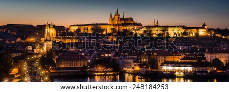 Cityscape panorama of Prague with Castle. - stock photo