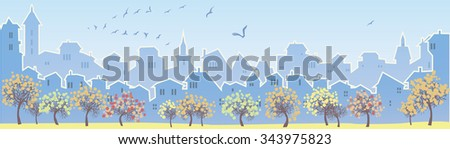 Cityscape skyline.  Panorama of the big city. Urban background with city Park. Autumn is time. Banner with big city views. - stock photo