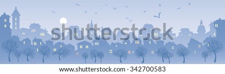 Cityscape skyline.  Panorama of the big city. Urban background with city Park.  Banner with an evening city. City panorama of the park in the evening and flying birds - stock photo