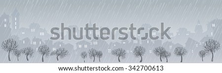 Cityscape skyline.  Panorama of the big city. Urban background with city Park. Banner with city views. Rainy weather in a large modern city. Rain in the city park. Panorama of the city in the rain - stock photo