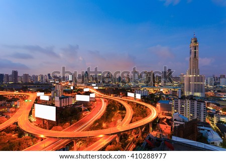 Cityscape twilight, Baiyok tower II with motorway,expressway and freeway in Bangkok. - stock photo