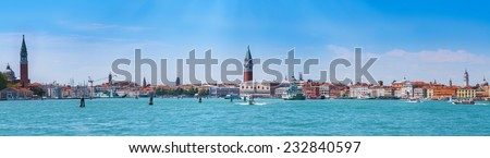 Cityscape Venice, sea view Piazza San Marco with Campanile, Doge Palace and Isola San Giorgio Maggiore in Venice, Italy. - stock photo