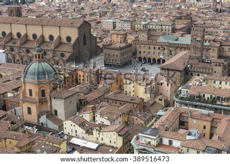 "Cityscape view from ""Due torri"" or two towers, Bologna, province Emilia-Romagna, Italy  - stock photo"