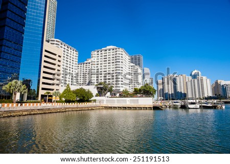 Cityscape view of the Brickell area in downtown Miami along Biscayne Bay. - stock photo