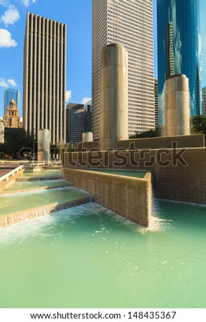 Cityscape view of tranquility park in downtown Houston, Texas. - stock photo
