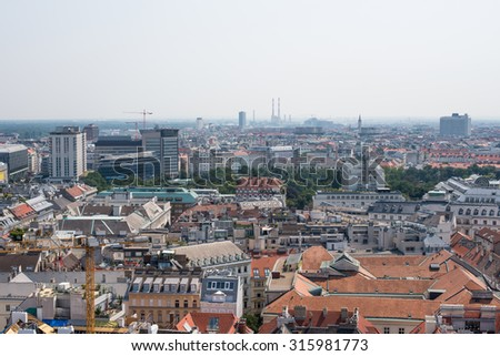 Cityscape with different size buildings, top view - stock photo