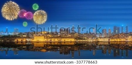 Cityscape with Galata Tower, Golden Horn and ferry wirh beautiful fireworks in Istanbul, Turkey - stock photo