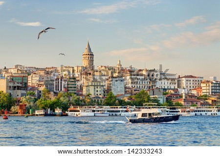 Cityscape with Galata Tower over the Golden Horn at sunset, Istanbul, Turkey - stock photo