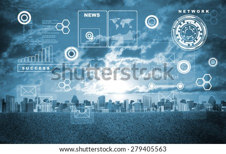 Cityscape with holographic screen and virtual icons - stock photo
