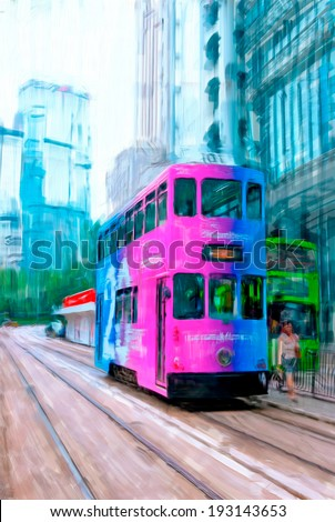 cityscapes of Hong Kong, oil painting - stock photo