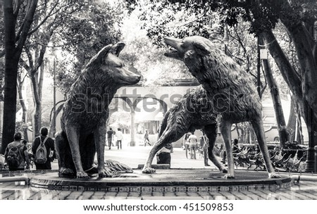 CIUDAD DE MEXICO / MEXICO - FEBRUARY 19 2015: Coyotes fountain in Coyoacan, Mexico City - stock photo