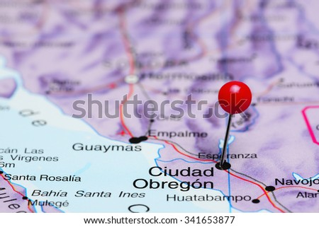 Ciudad Obregon pinned on a map of Mexico  - stock photo