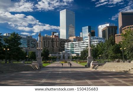 Civic Center Park Denver Colorado Skyline - stock photo