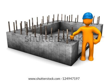 Civil engineer with the foundation of house. - stock photo