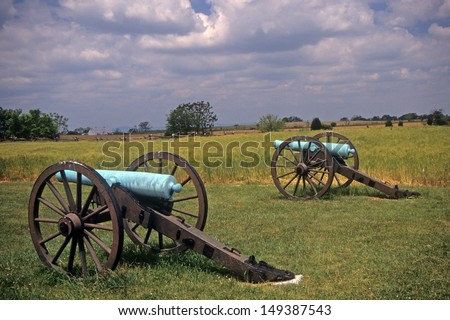 Civil War cannon at the Antietam National Battlefield, American  Civil War,Maryland - stock photo