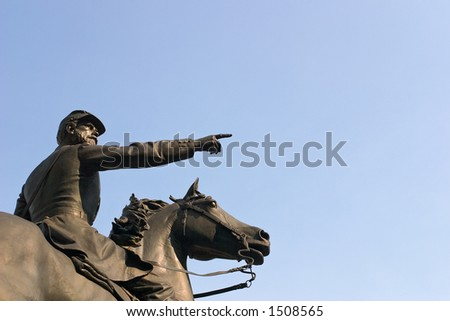 Civil War Statue, Sidelit - stock photo