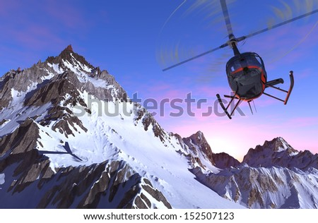Civilian helicopter over the mountains. - stock photo
