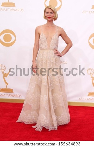 Claire Danes at the 65th Annual Primetime Emmy Awards Arrivals, Nokia Theater, Los Angeles, CA 09-22-13 - stock photo