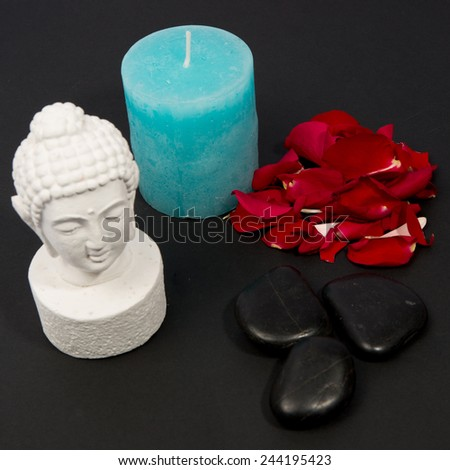 Clairvoyance equipment for fortunetelling on dark desk - stock photo