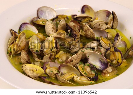 Clam with butter - stock photo
